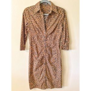 Express Womens Dress Size 6 Leopard Button Up